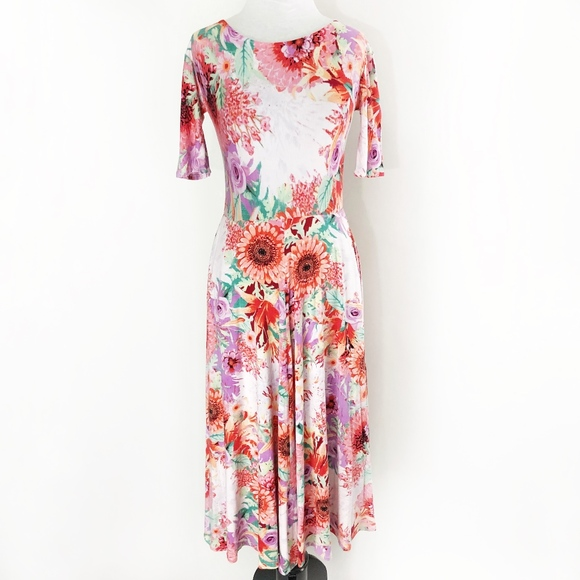 Custom made Dresses & Skirts - floral • rayon elbow sleeve fit flare swing dress